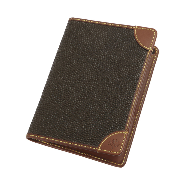 Mulberry Passport Cover Wallet Mole Scotchgrain With Cognac Trim