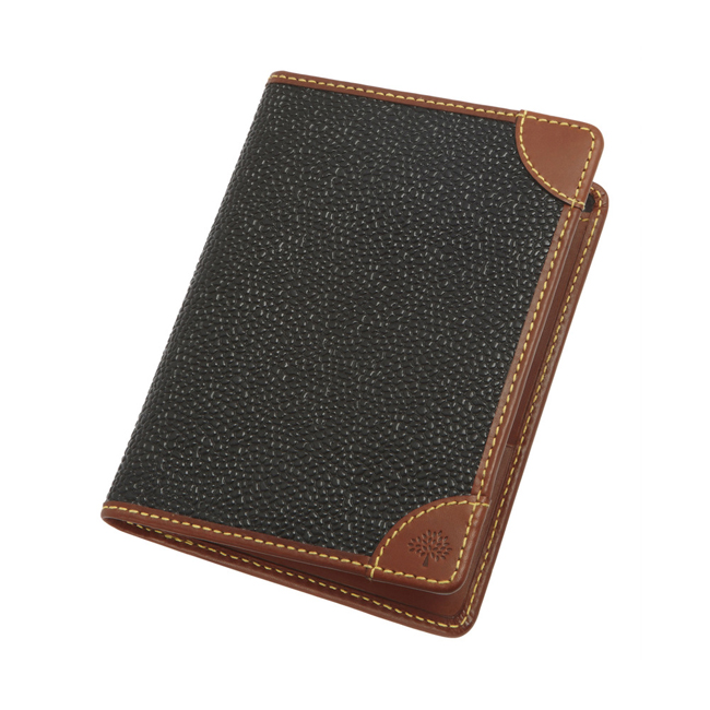 Mulberry Passport Cover Wallet Black Scotchgrain With Cognac Trim