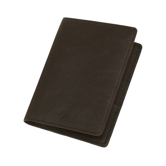 Mulberry Passport Cover Wallet Chocolate Natural Leather