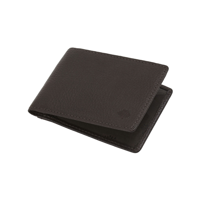 Mulberry Travel Card Holder Chocolate Natural Leather