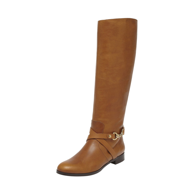 Mulberry Dorset Flat Knee Boot Oak Vachetta