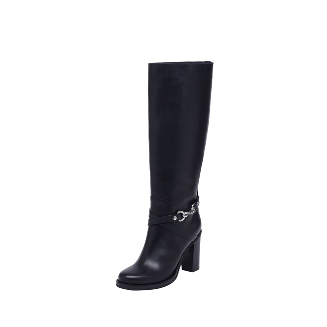 Mulberry Dorset Knee Boot Midnight Blue Vachetta