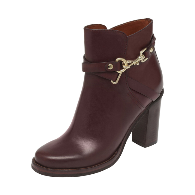 Mulberry Dorset Summer High Heel Bootie Oxblood Vachetta