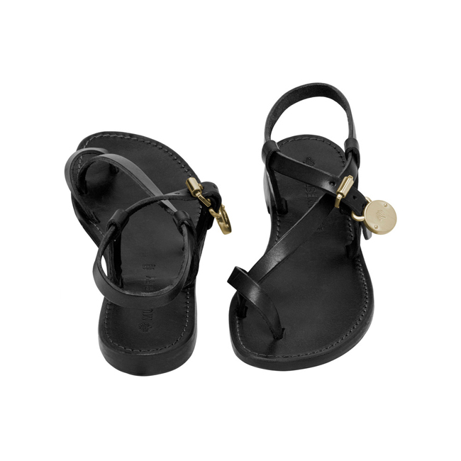 Mulberry Bayswater Flat Sandal Black Dip Dyed Leather