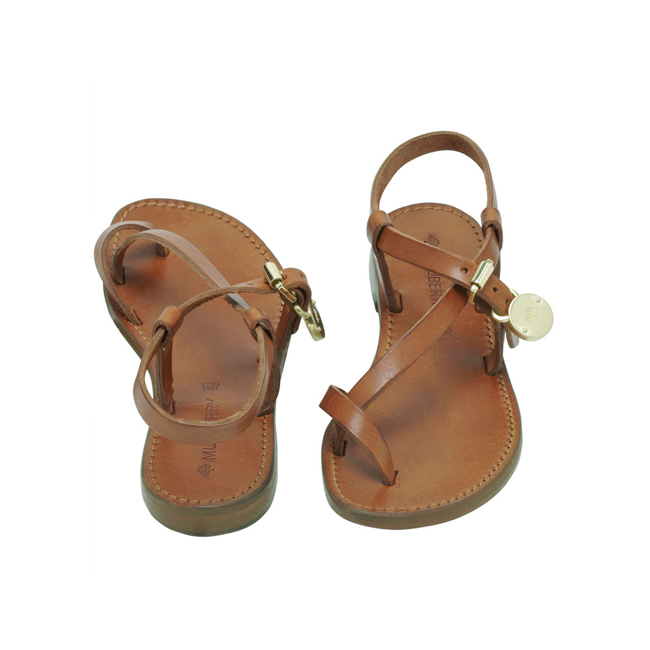Mulberry Bayswater Flat Sandal Oak Dip Dyed Leather