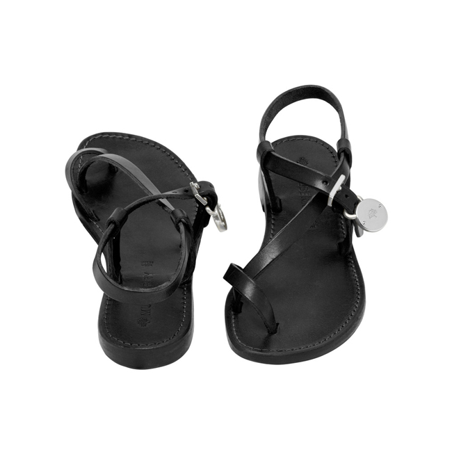 Mulberry Bayswater Flat Sandal Black Dip Dyed Leather With Nickel