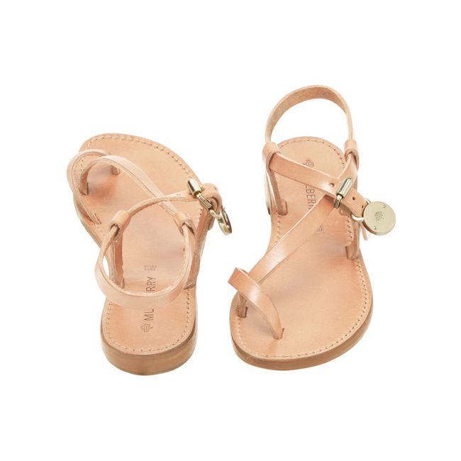 Mulberry Bayswater Flat Sandal Natural Dip Dyed Leather