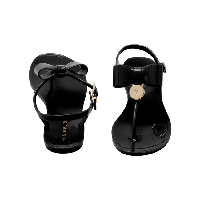 Mulberry Jelly Bow T-Bar Sandal Black Jelly