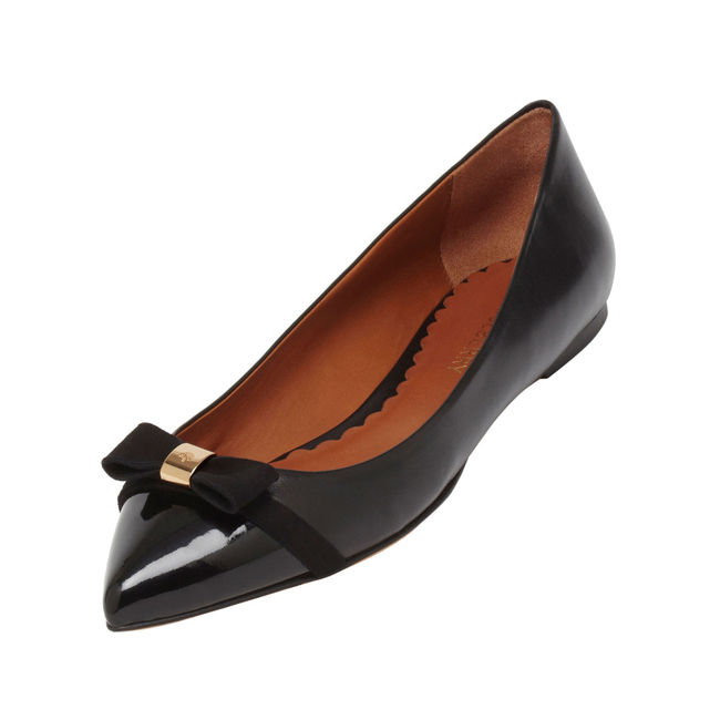 Mulberry Bow Ballerina Black Patent & Nappa Mix