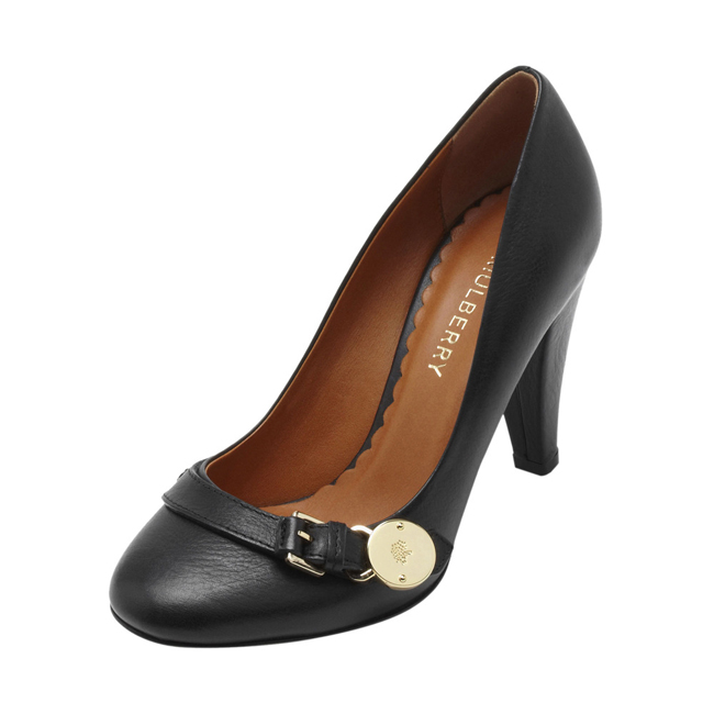 Mulberry Bayswater Mid Heel Pump Black Natural Leather With Soft Gold