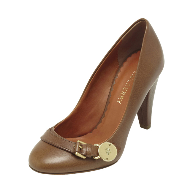 Mulberry Bayswater Mid Heel Pump Oak Natural Leather