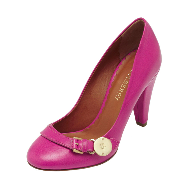 Mulberry Bayswater Mid Heel Pump Pink Natural Leather