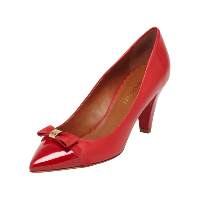 Mulberry Bow Mid Heel Pump Bright Red Patent & Nappa Mix