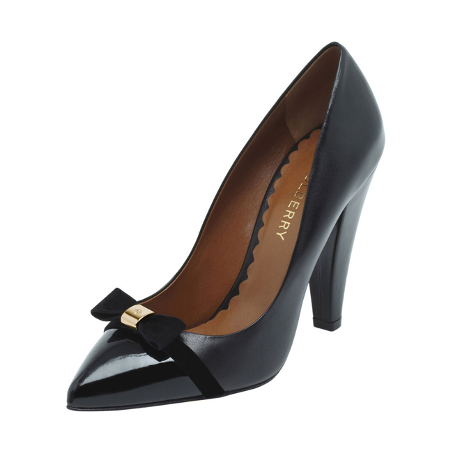 Mulberry Bow High Heel Pump Black Patent & Nappa Mix