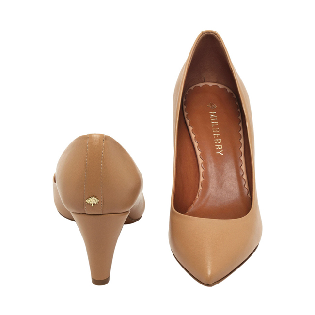 Mulberry Signature Mid Heel Pump Biscuit Brown Florence Nappa