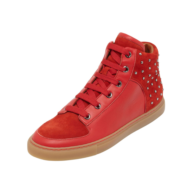 Mulberry Studded Sneaker Bright Red Leather & Suede Mix