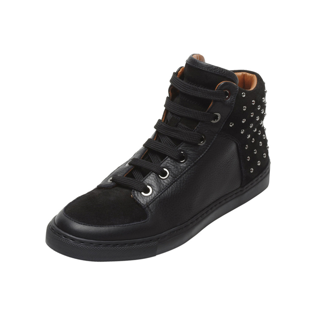 Mulberry Studded Sneaker Black Leather & Suede Mix