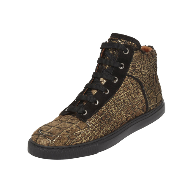 Mulberry Sneaker Gold Croc Embossed Haircalf
