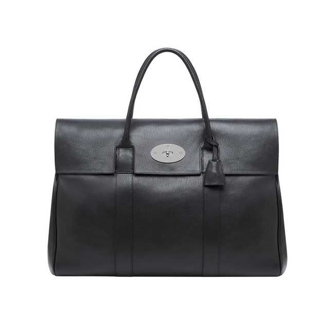 Mulberry Piccadilly Black Grainy Print Leather With Nickel