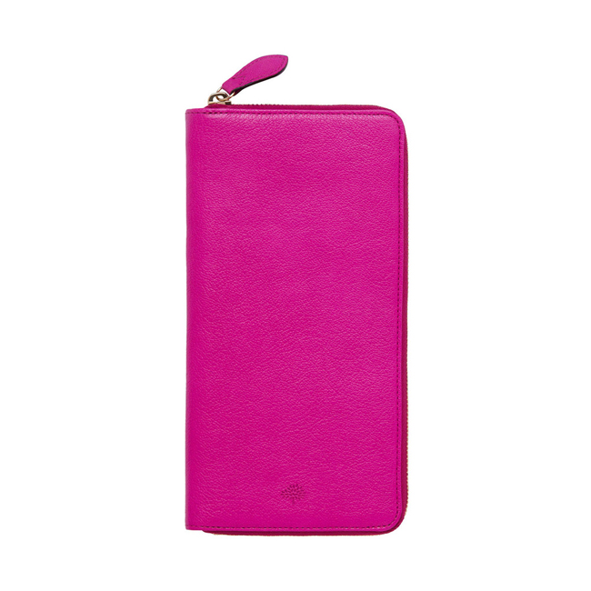 Mulberry Zip Around Travel Wallet Pink Glossy Goat