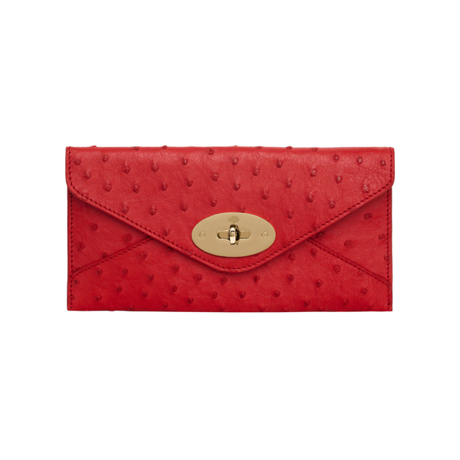 Mulberry Envelope Wallet Bright Red Ostrich