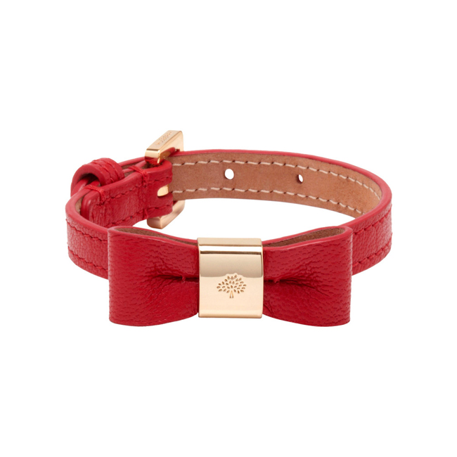 Mulberry Bow Bracelet Bright Red Shiny Goat