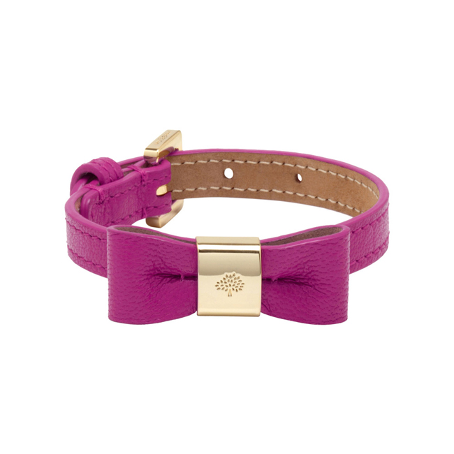 Mulberry Bow Bracelet Pink Glossy Goat