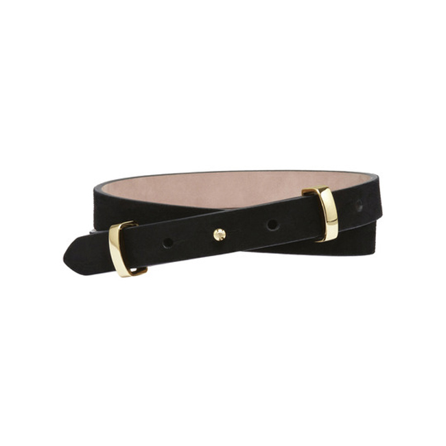 Mulberry Metal Loop Belt Black Suede