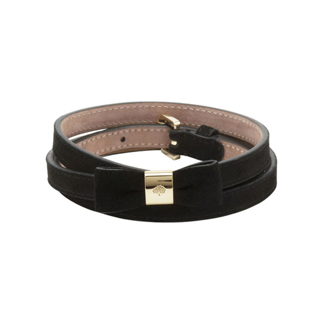Mulberry Bow Belt Black Suede