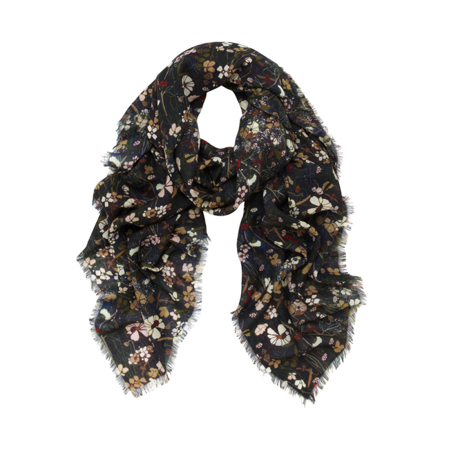 Mulberry Square Printed Wrap Black Mini Meadow Print