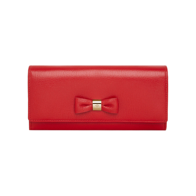 Mulberry Bow Continental Wallet Bright Red Shiny Goat