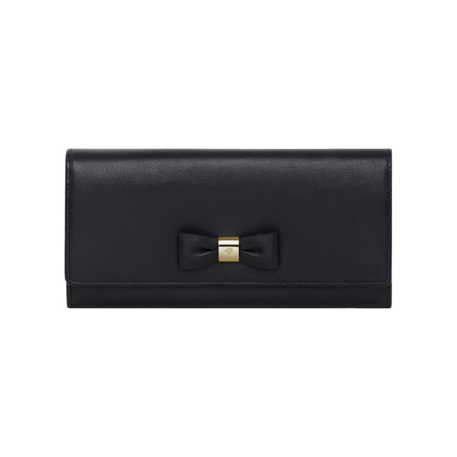 Mulberry Bow Continental Wallet Black Classic Nappa