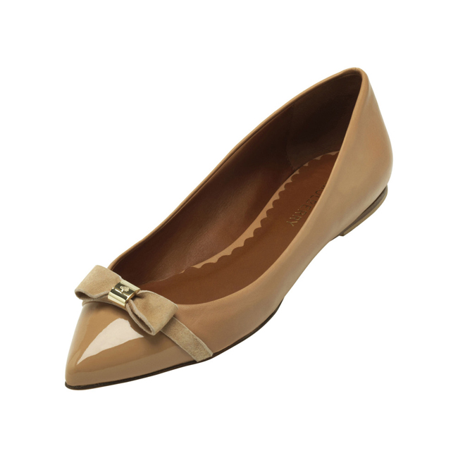 Mulberry Bow Ballerina Biscuit Brown Patent & Nappa Mix