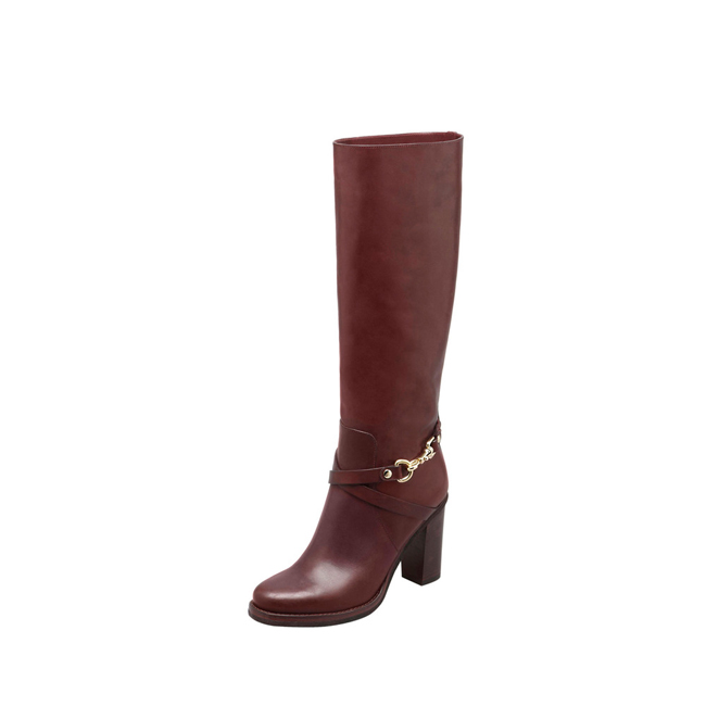 Mulberry Dorset Knee Boot Oxblood Vachetta