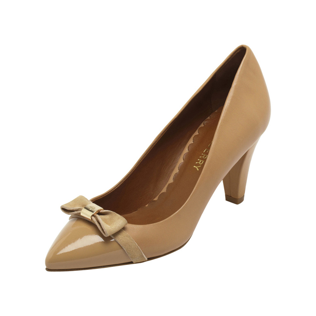 Mulberry Bow Mid Heel Pump Biscuit Brown Patent & Nappa Mix