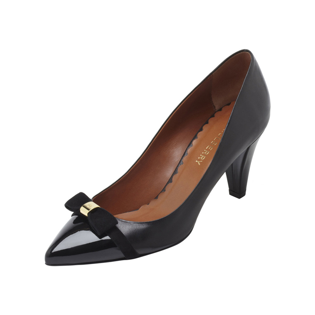 Mulberry Bow Mid Heel Pump Black Patent & Nappa Mix