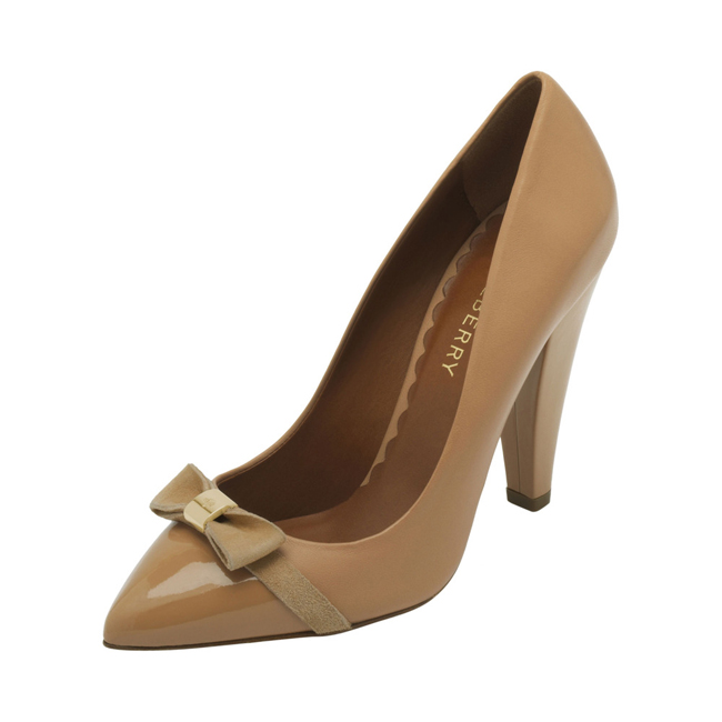 Mulberry Bow High Heel Pump Biscuit Brown Patent & Nappa Mix