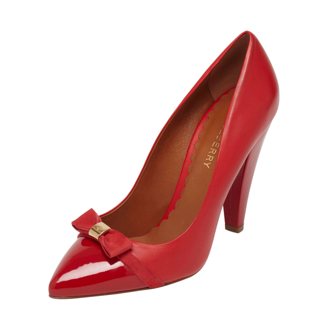 Mulberry Bow High Heel Pump Bright Red Patent & Nappa Mix