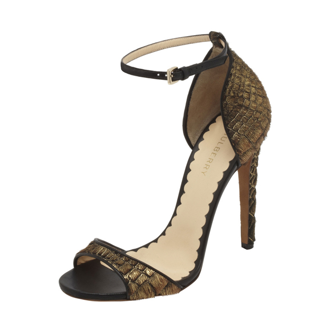 Mulberry Evening Sandal Gold Croc Embossed Haircalf