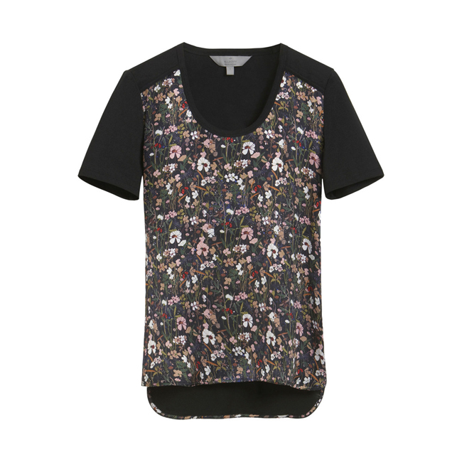 Mulberry Print Front T-Shirt Black Mini Meadow Cotton Jersey