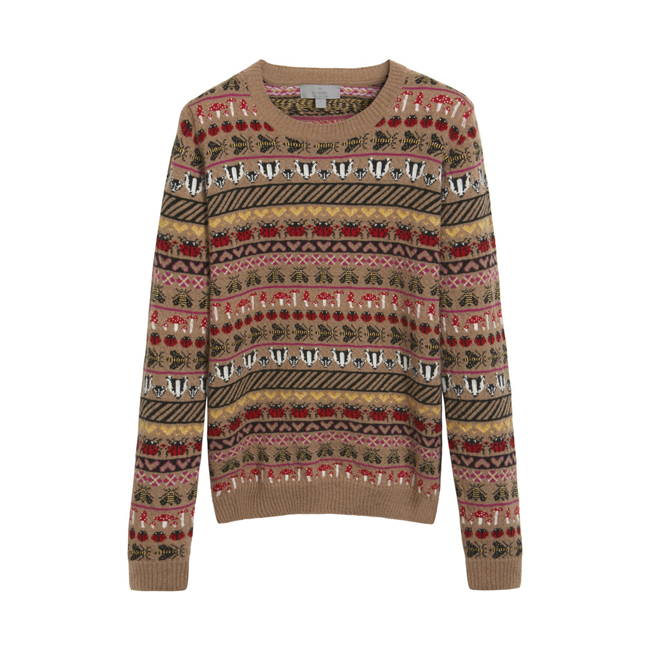 Mulberry Fairisle Jumper Camel Cashmere Blend