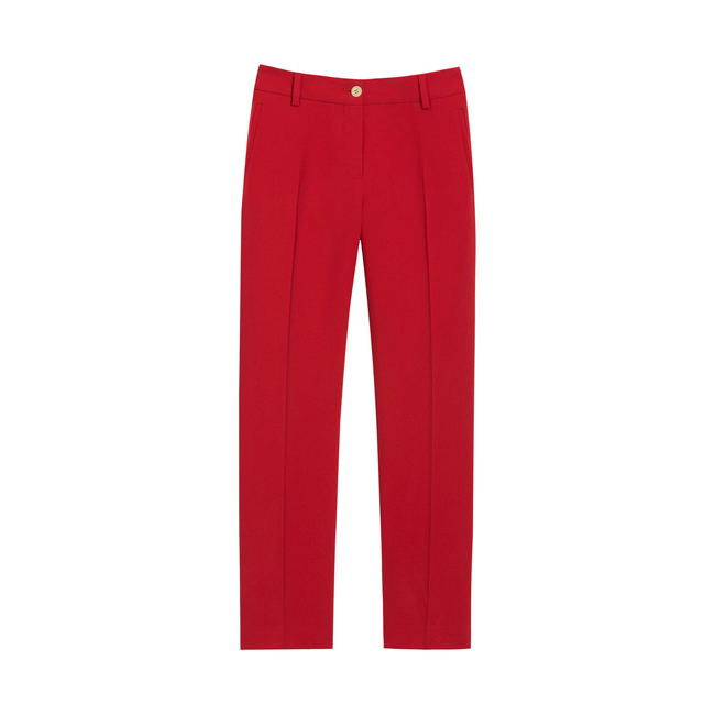 Mulberry Ankle Length Trousers Bright Red Textured Stretch Wool