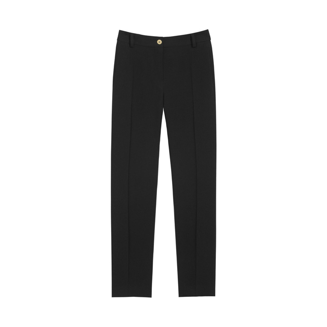 Mulberry Ankle Length Trousers Black Textured Stretch Wool