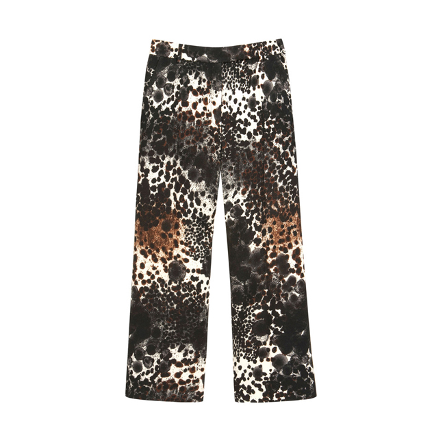 Mulberry Cropped Trouser Off White Inky Animal Wool Twill