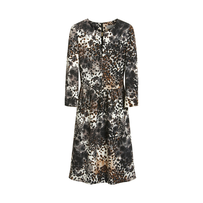 Mulberry Column Dress Off White Inky Animal Triple Georgette