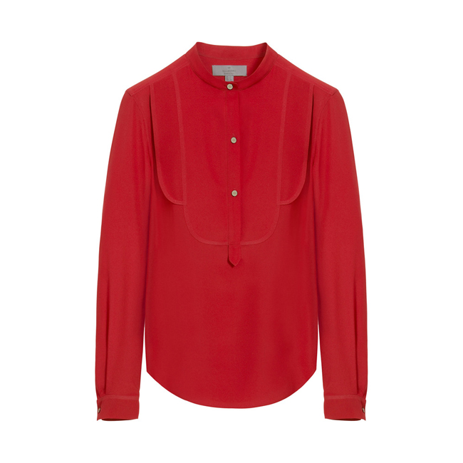 Mulberry Tuxedo Shirt Bright Red Silk Marocaine