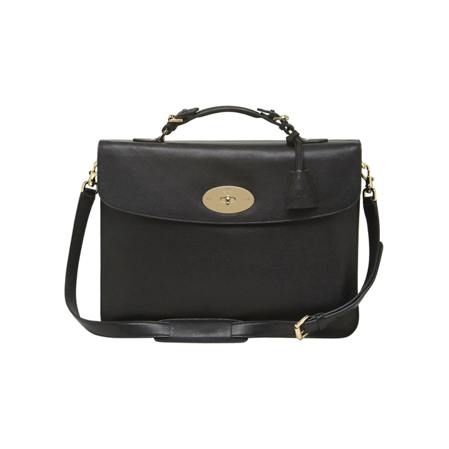 Mulberry Bayswater Briefcase Black Grainy Print Leather
