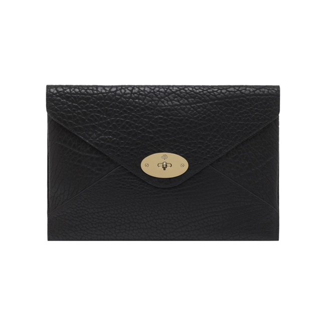 Mulberry Oversized Willow Clutch Black Shrunken Calf With Soft Gold