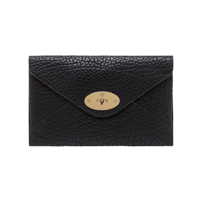 Mulberry Willow Clutch Black Shrunken Calf With Soft Gold