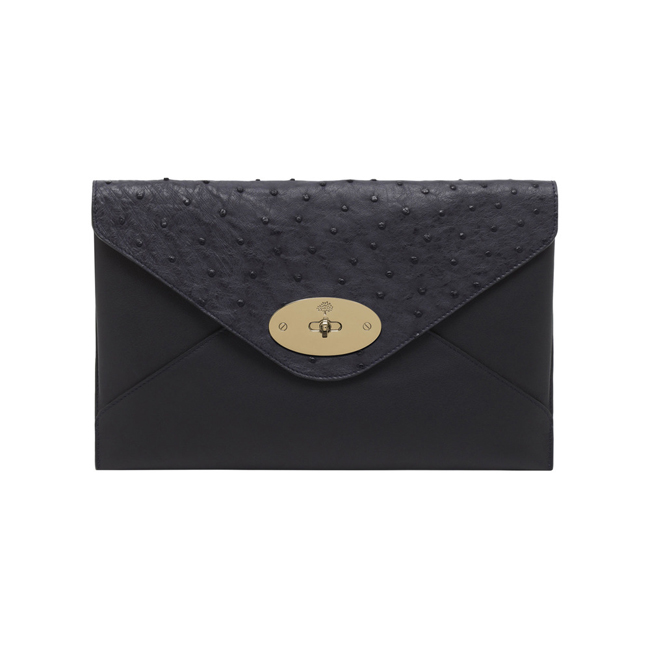 Mulberry Willow Clutch Navy Classic Calf & Ostrich Mix